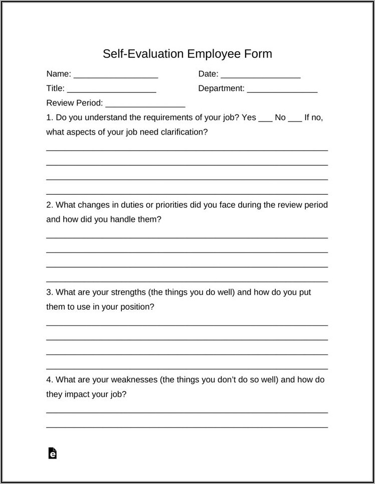 Free Blank Employee Evaluation Forms