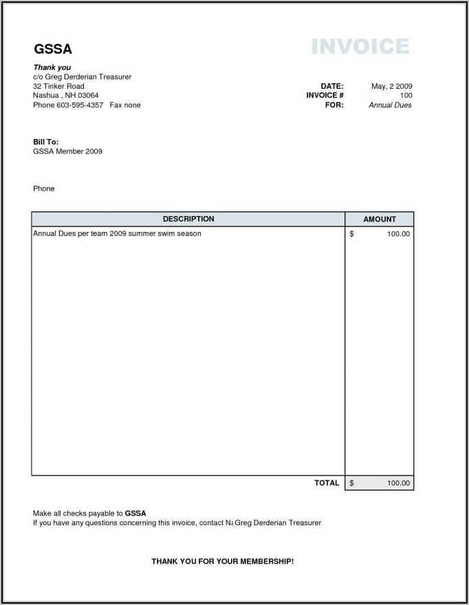 Free Blank Invoice Template For Word