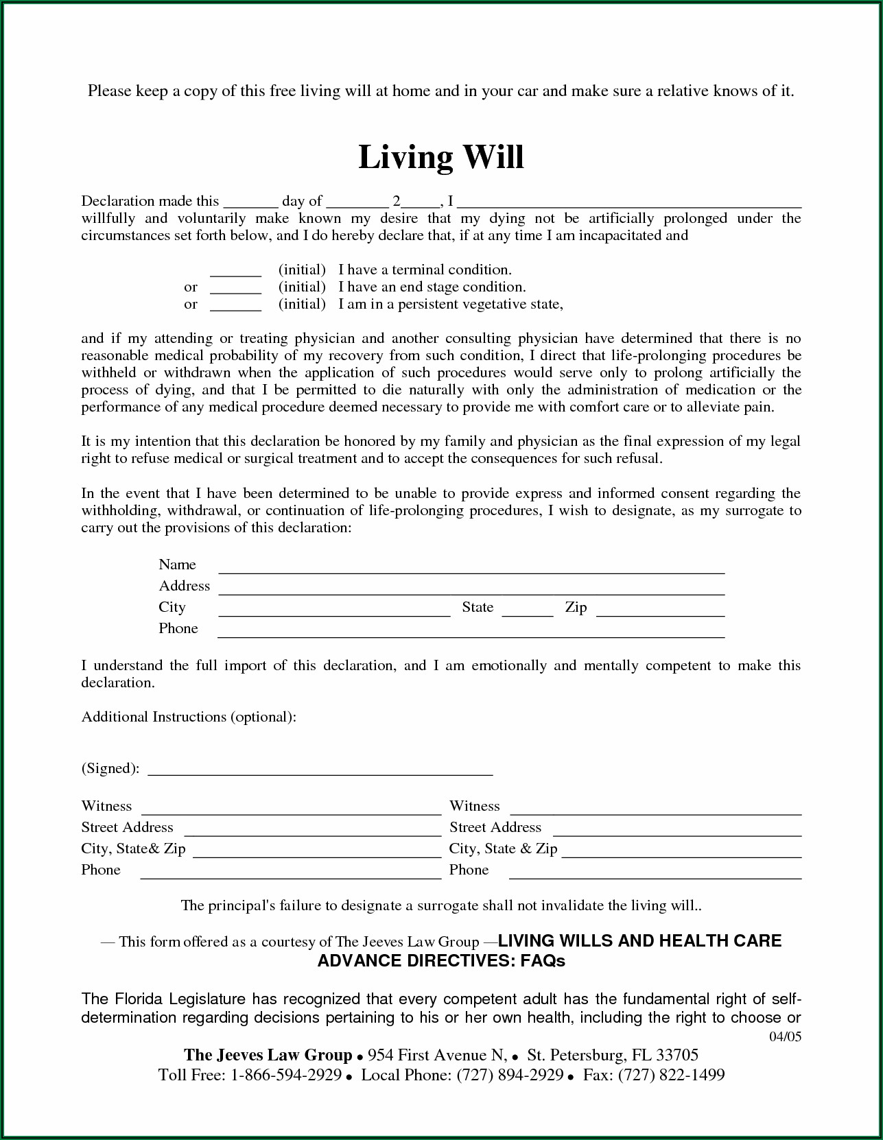 Free Blank Living Will Forms To Print