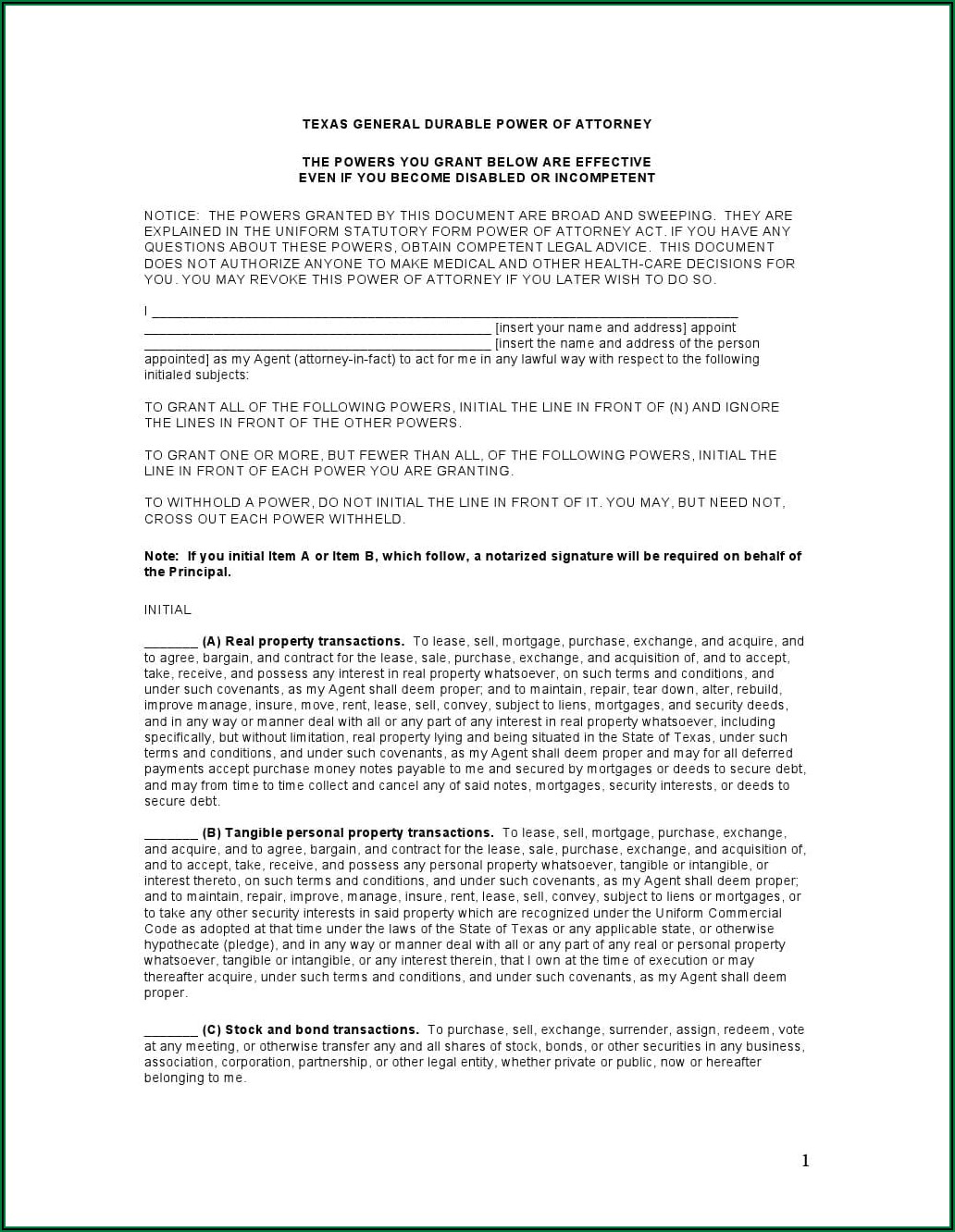 Free Blank Printable Medical Power Of Attorney Forms Texas