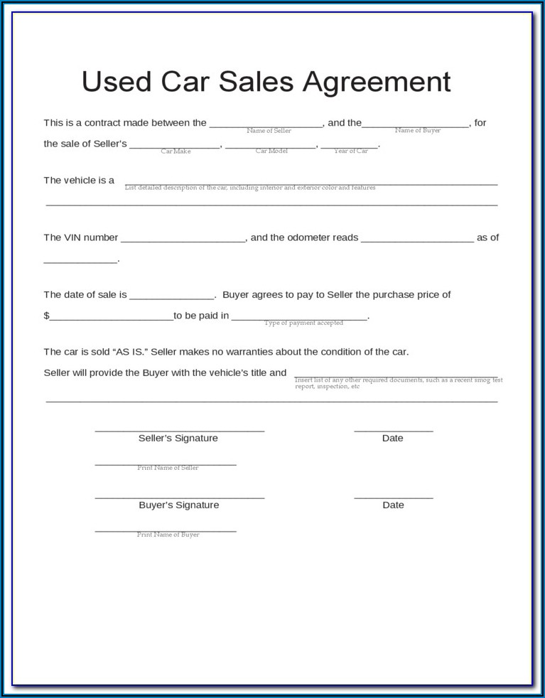 Free Car Sales Contract Template