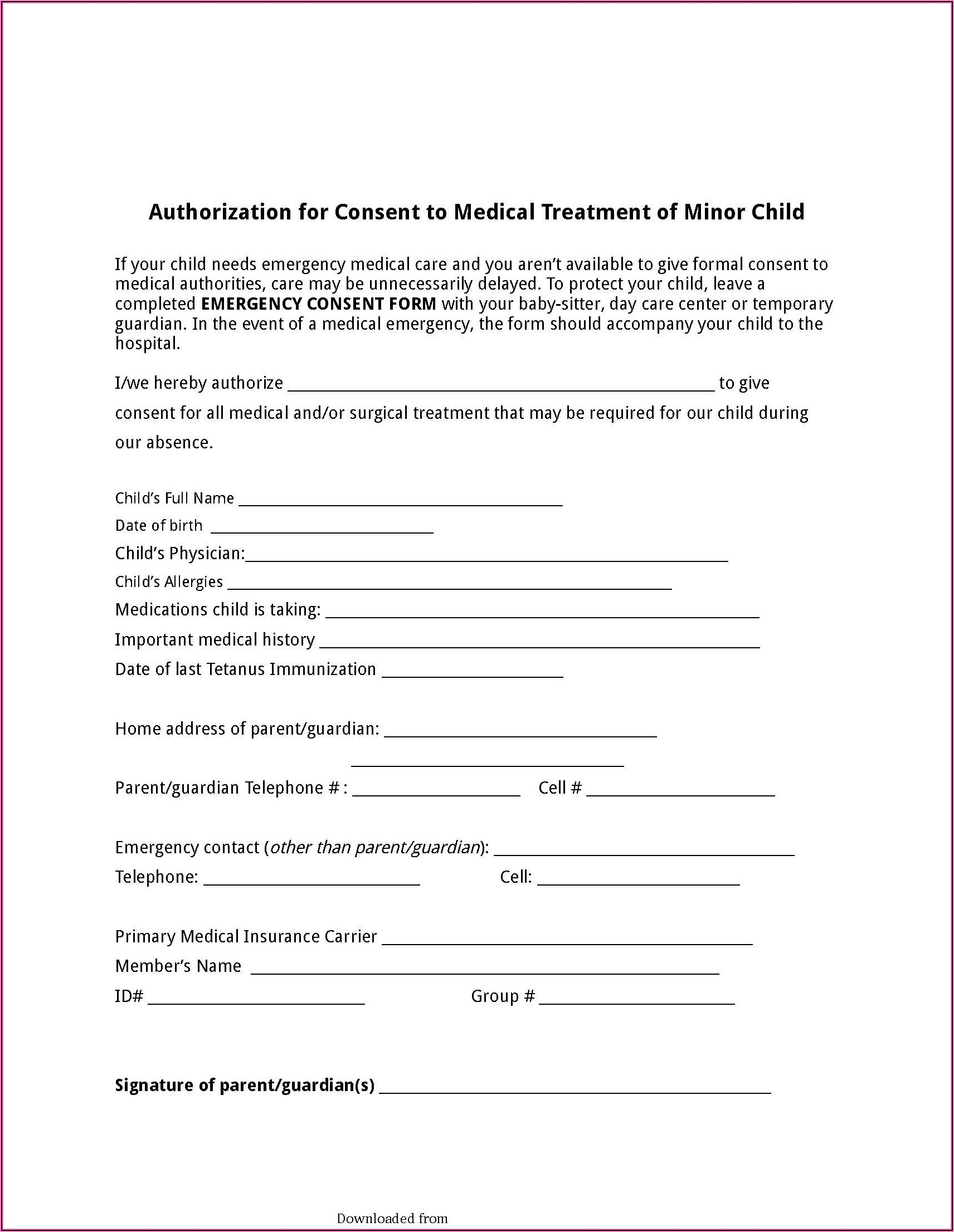 Free Child Temporary Medical Consent Form