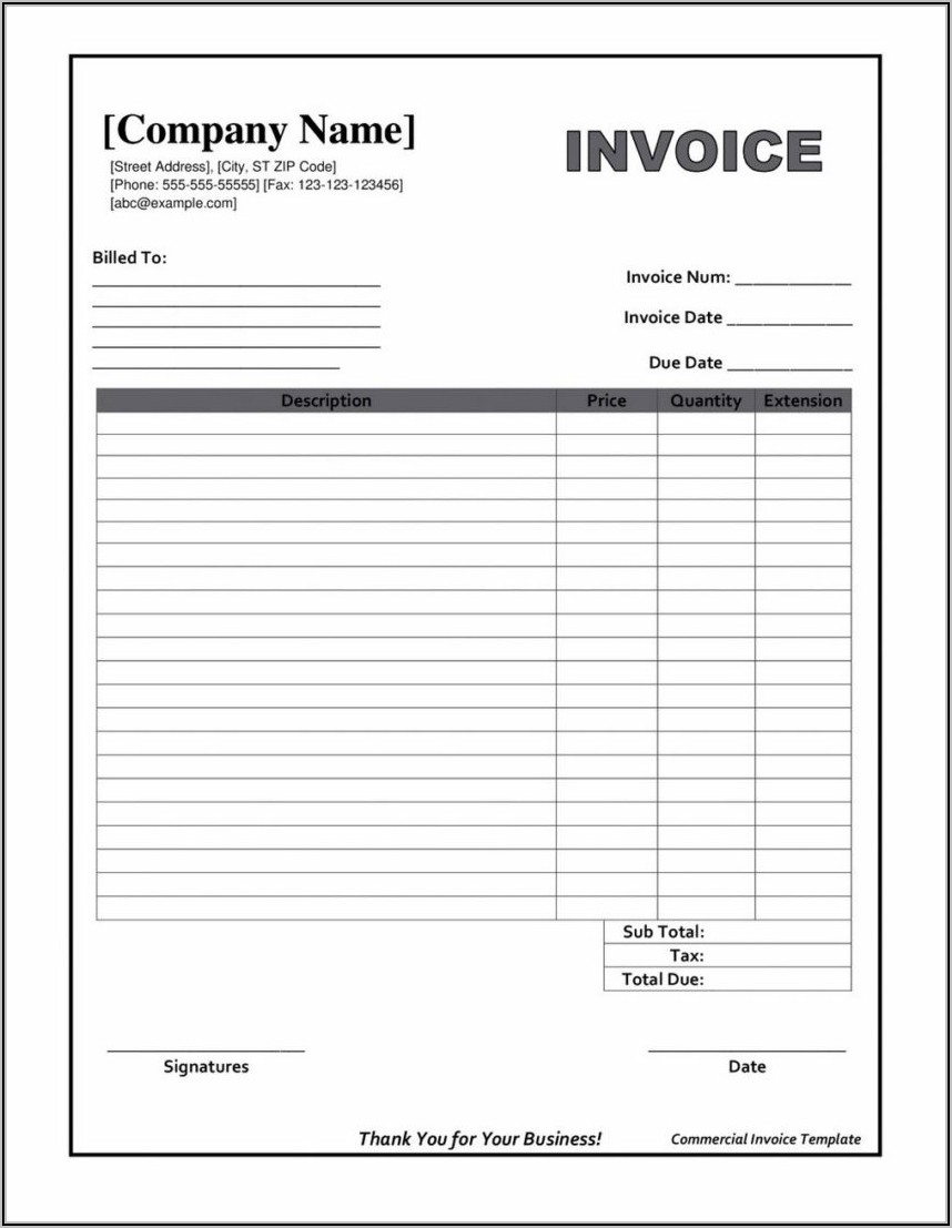 Free Downloadable Invoice Template Word