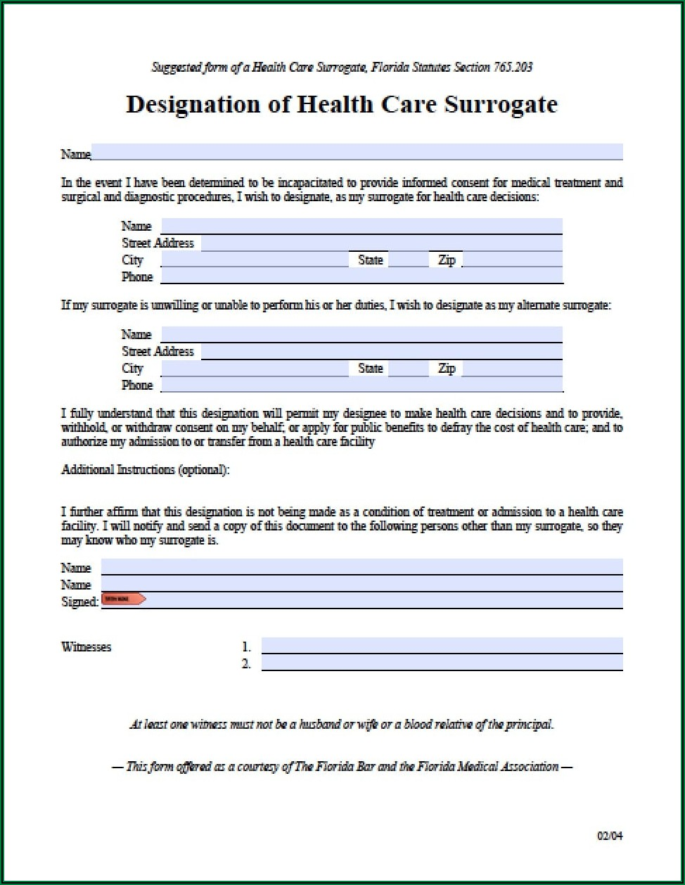 Free Durable Power Of Attorney For Health Care Form Illinois