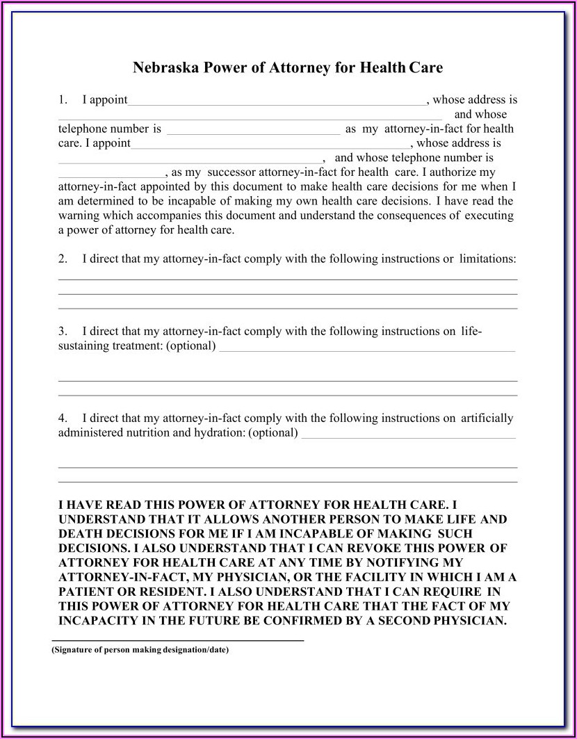 Free Durable Power Of Attorney Form North Carolina