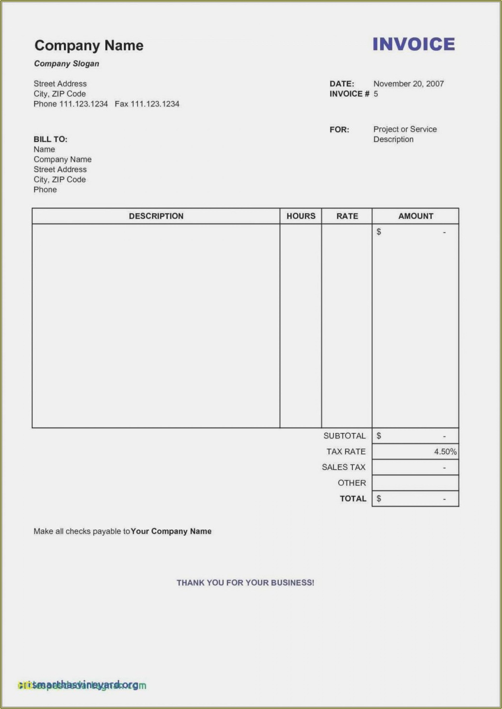 Free Editable Invoice Template Word