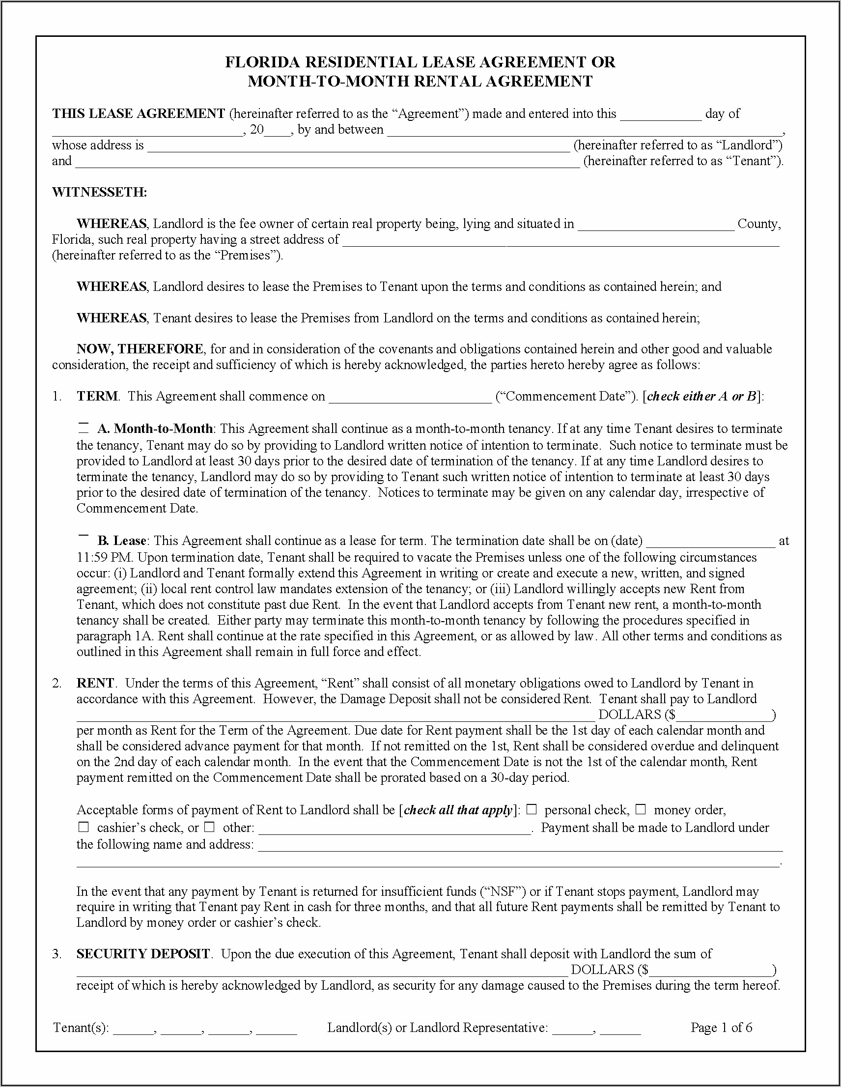 Free Florida Contract To Lease Form