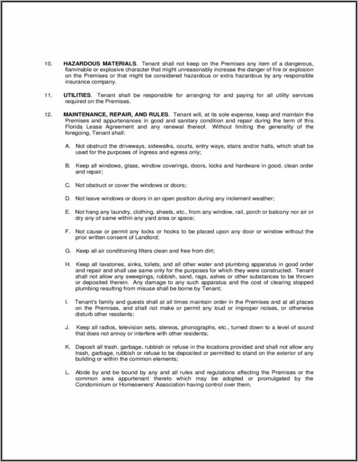 Free Florida Lease Agreement Form