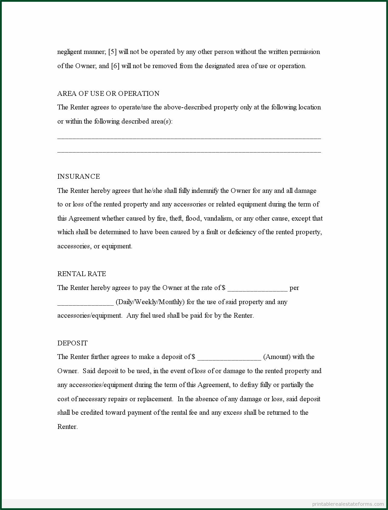 Free Generic Lease Agreement Form