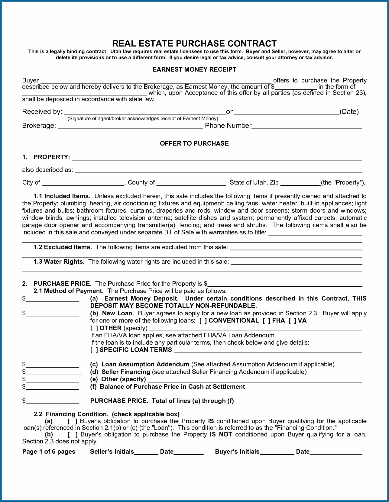 Free Home Sales Contract Template