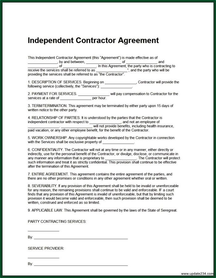 Free Independent Contractor Agreement Form Download