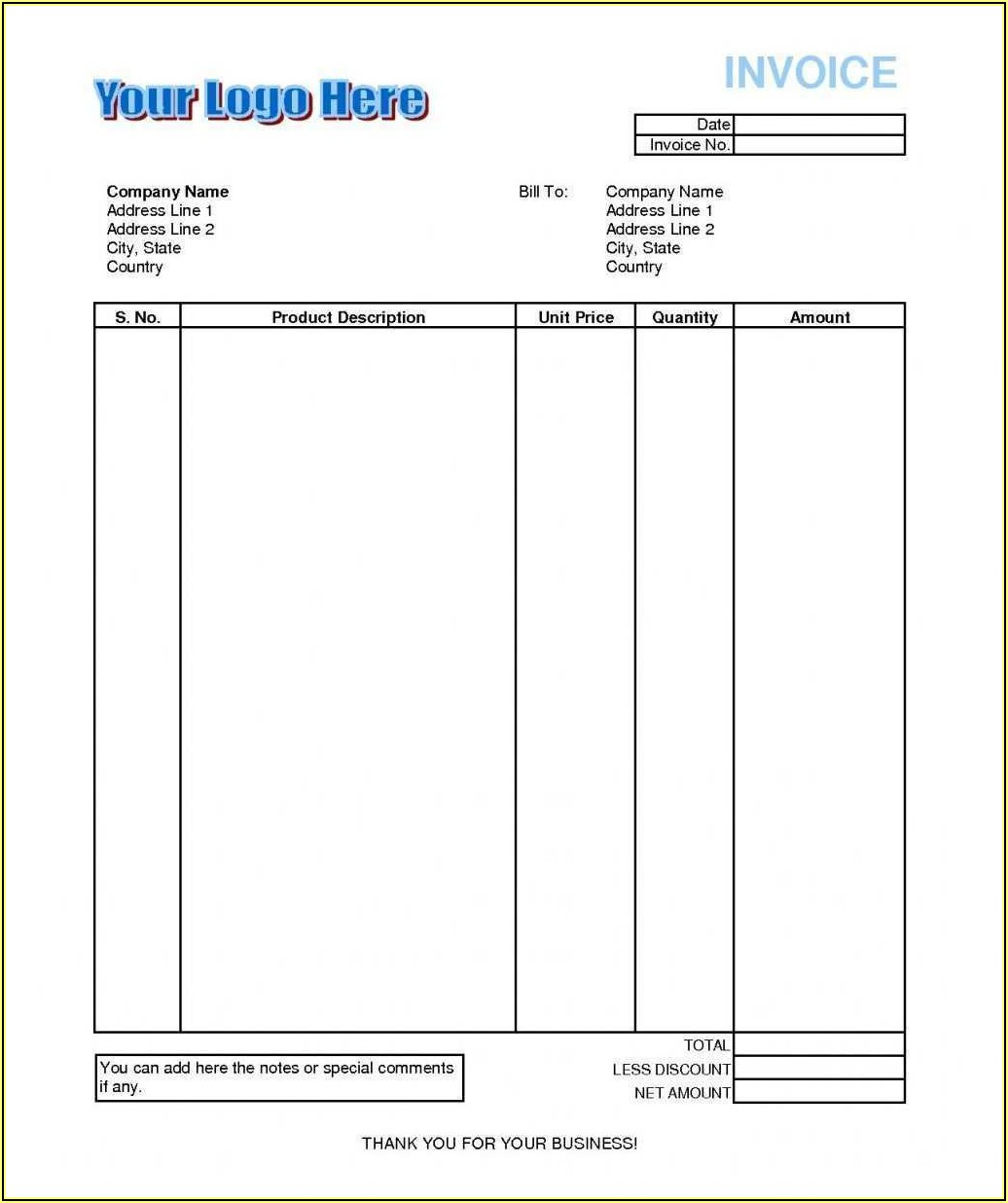 Free Invoice Template Open Office