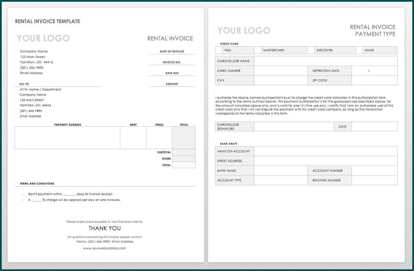 Free Invoices Templates Word