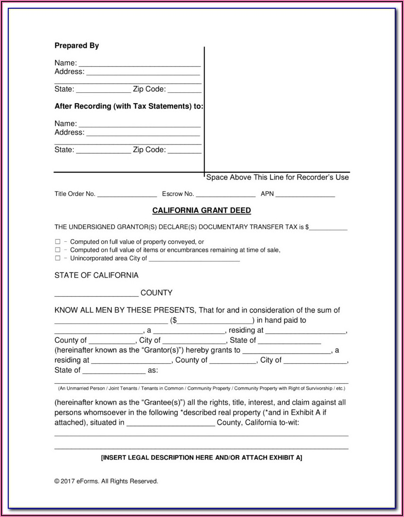 Free Joint Tenancy Grant Deed Form California