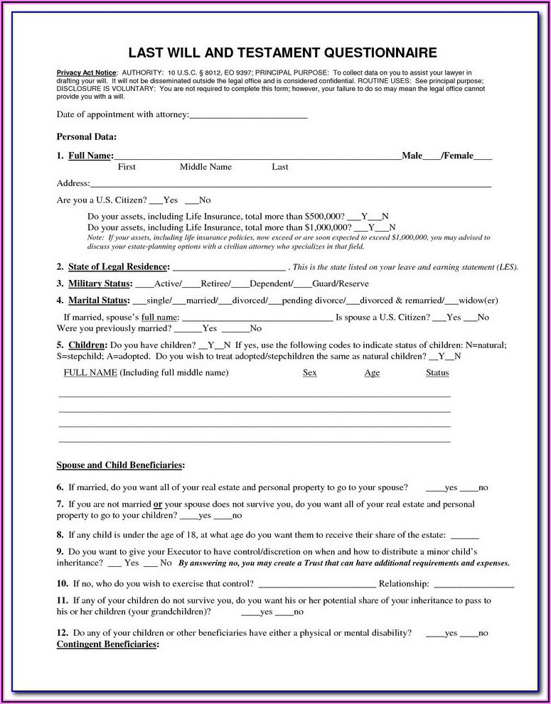 Free Last Will And Testament Form Pdf Wisconsin