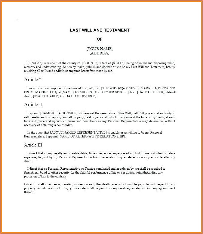 Free Last Will And Testament Template For Married Couple Canada