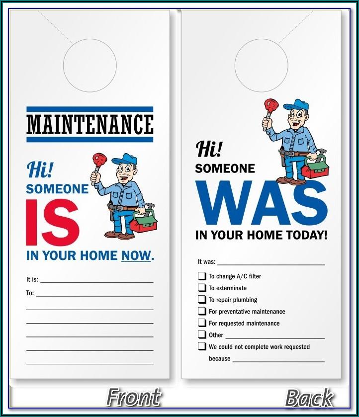 Free Maintenance Door Hanger Template