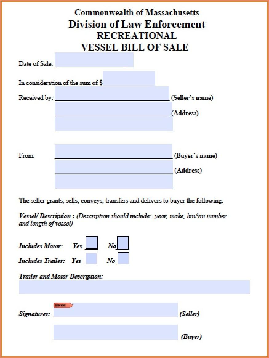 Free Massachusetts Auto Bill Of Sale Template