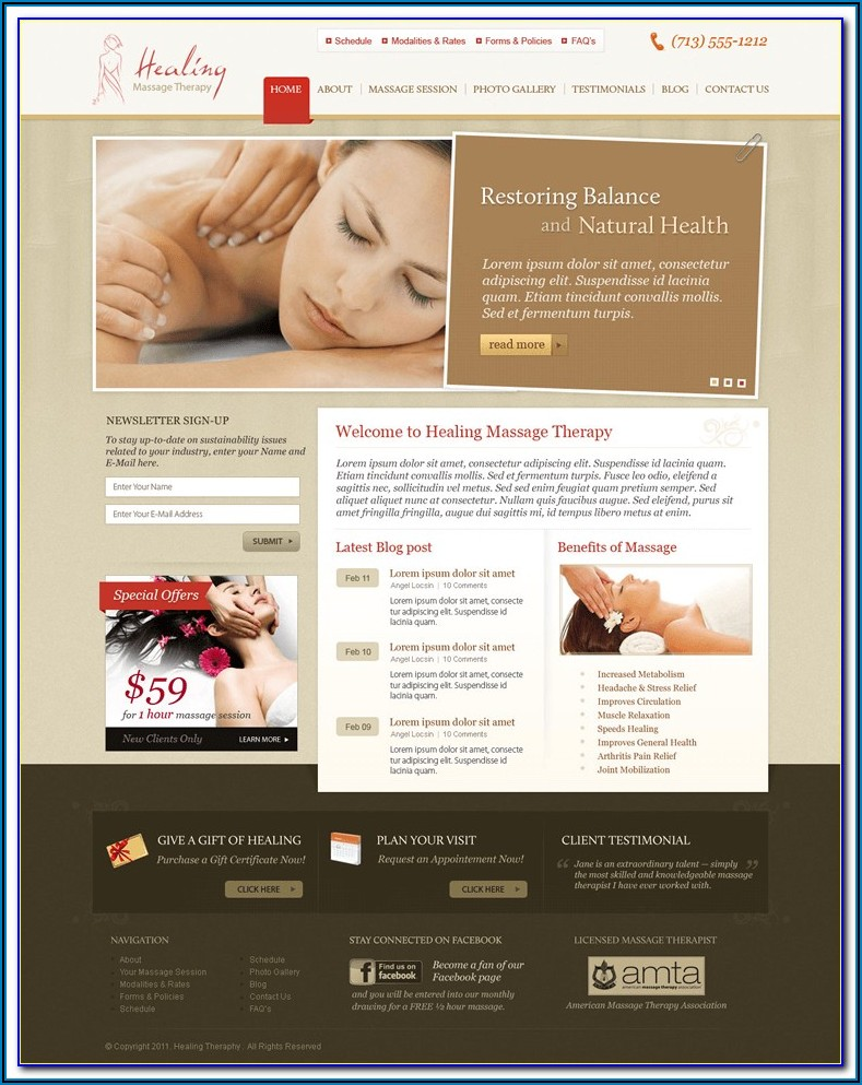 Free Massage Therapy Brochure Templates