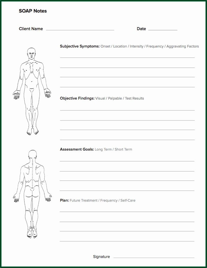 Free Massage Therapy Soap Notes Forms