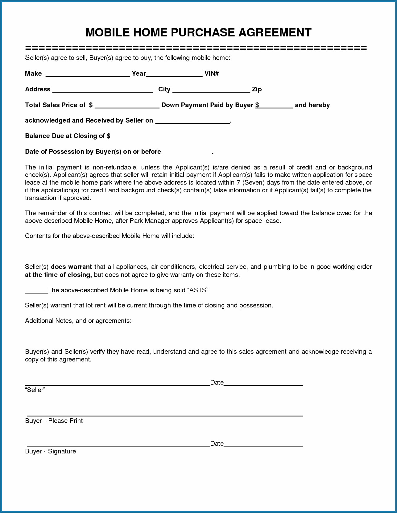 Free Mobile Home Sales Contract Template