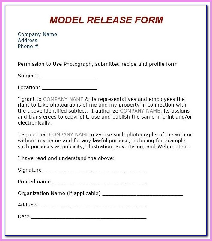 Free Photo Print Release Form