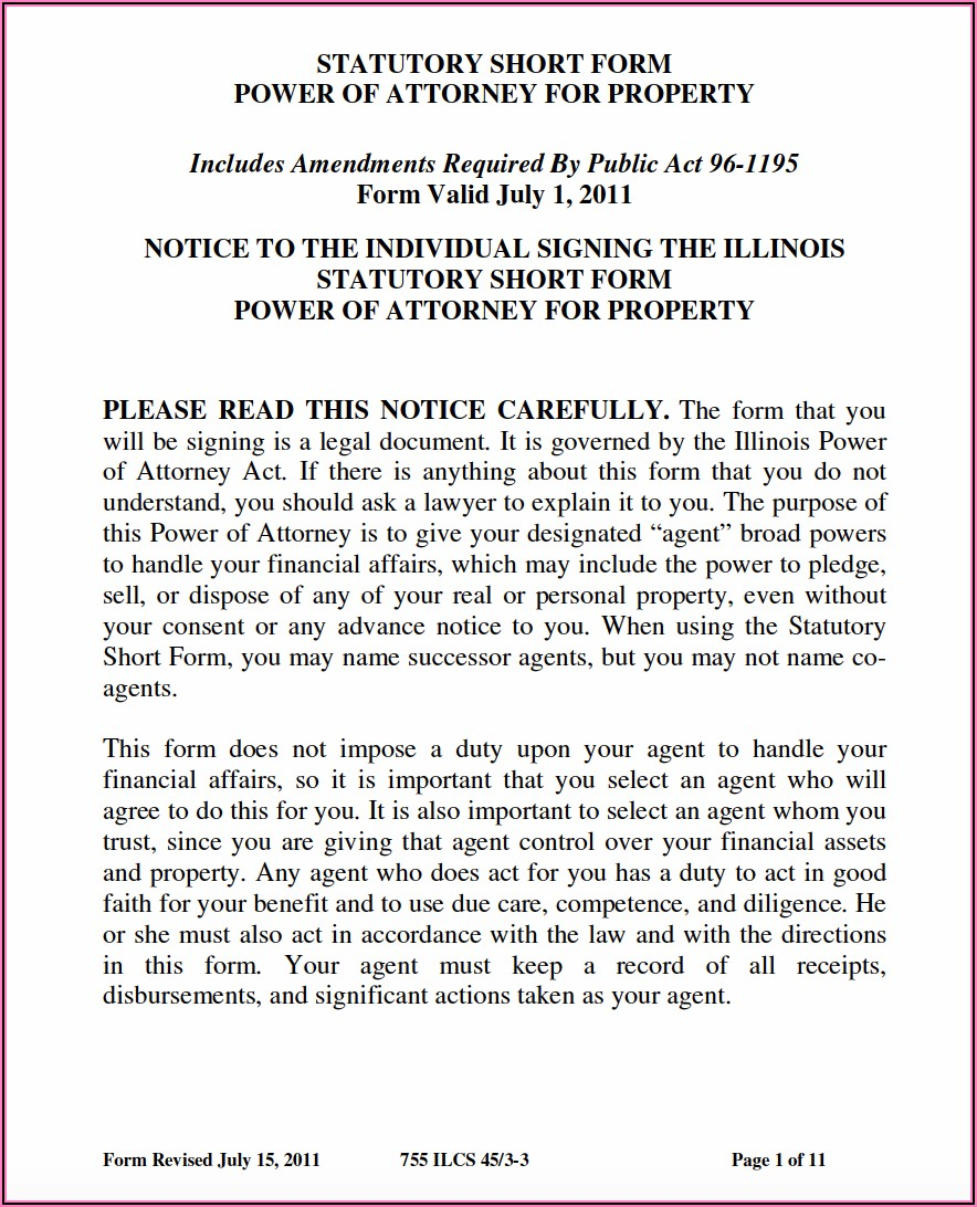 Free Power Of Attorney Forms Illinois