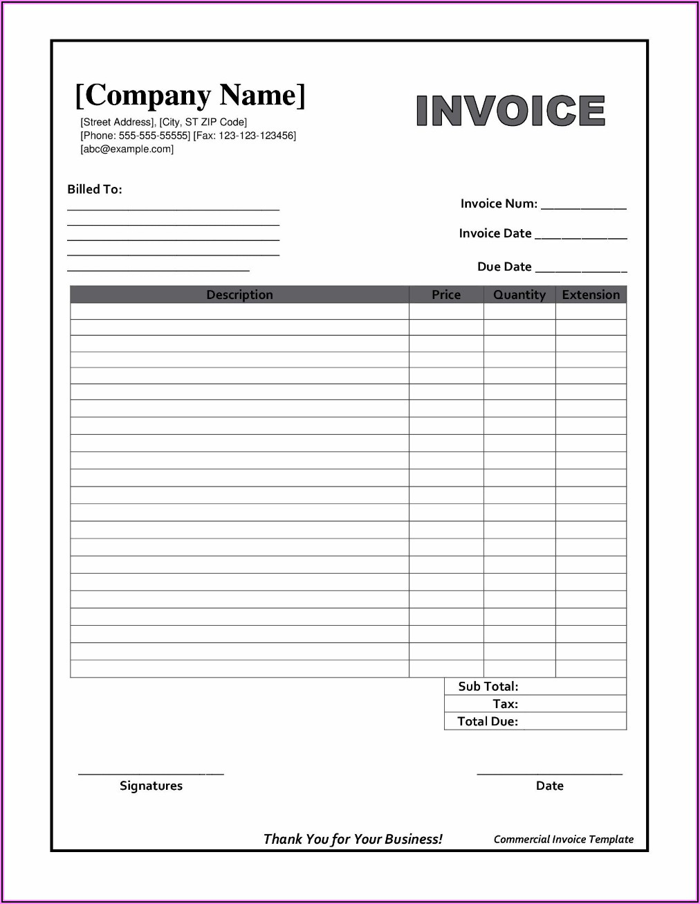 Free Printable Billing Invoice Template