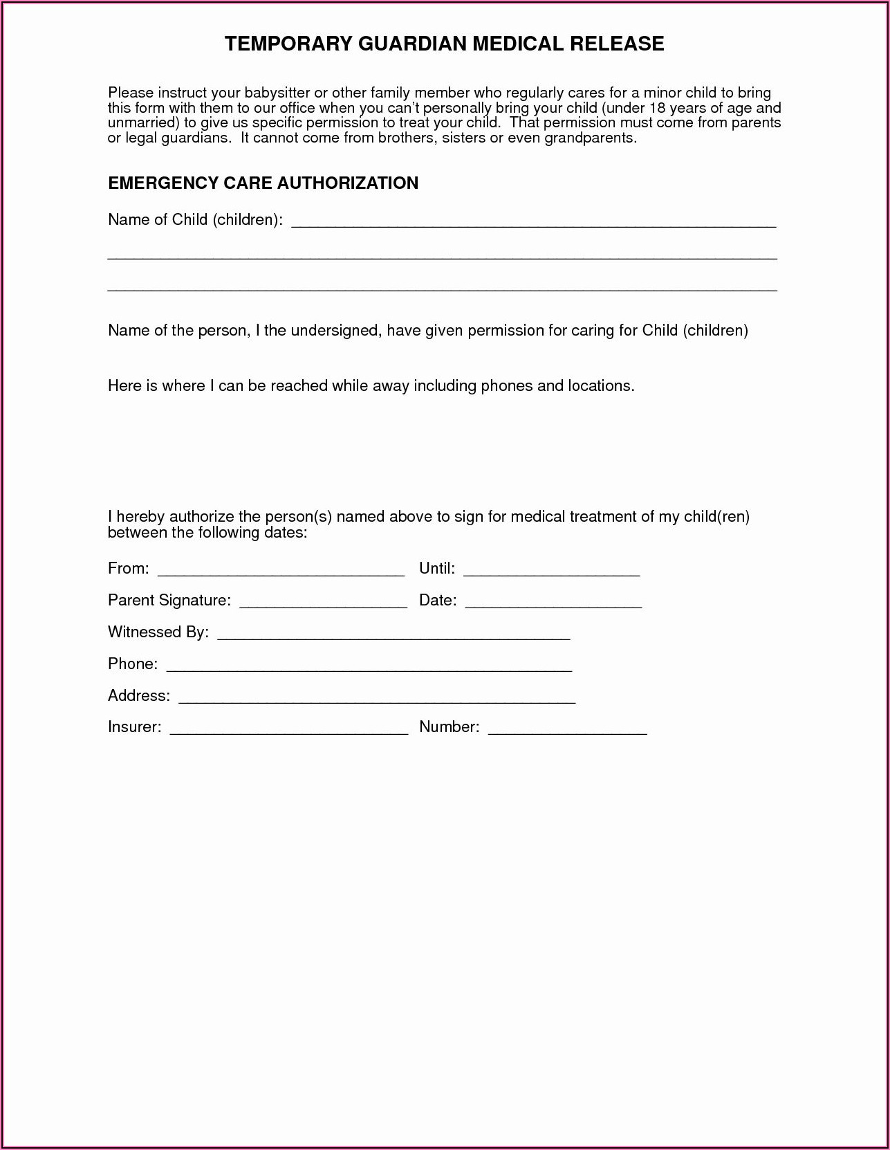 Free Printable Child Medical Consent Form For Grandparents Word
