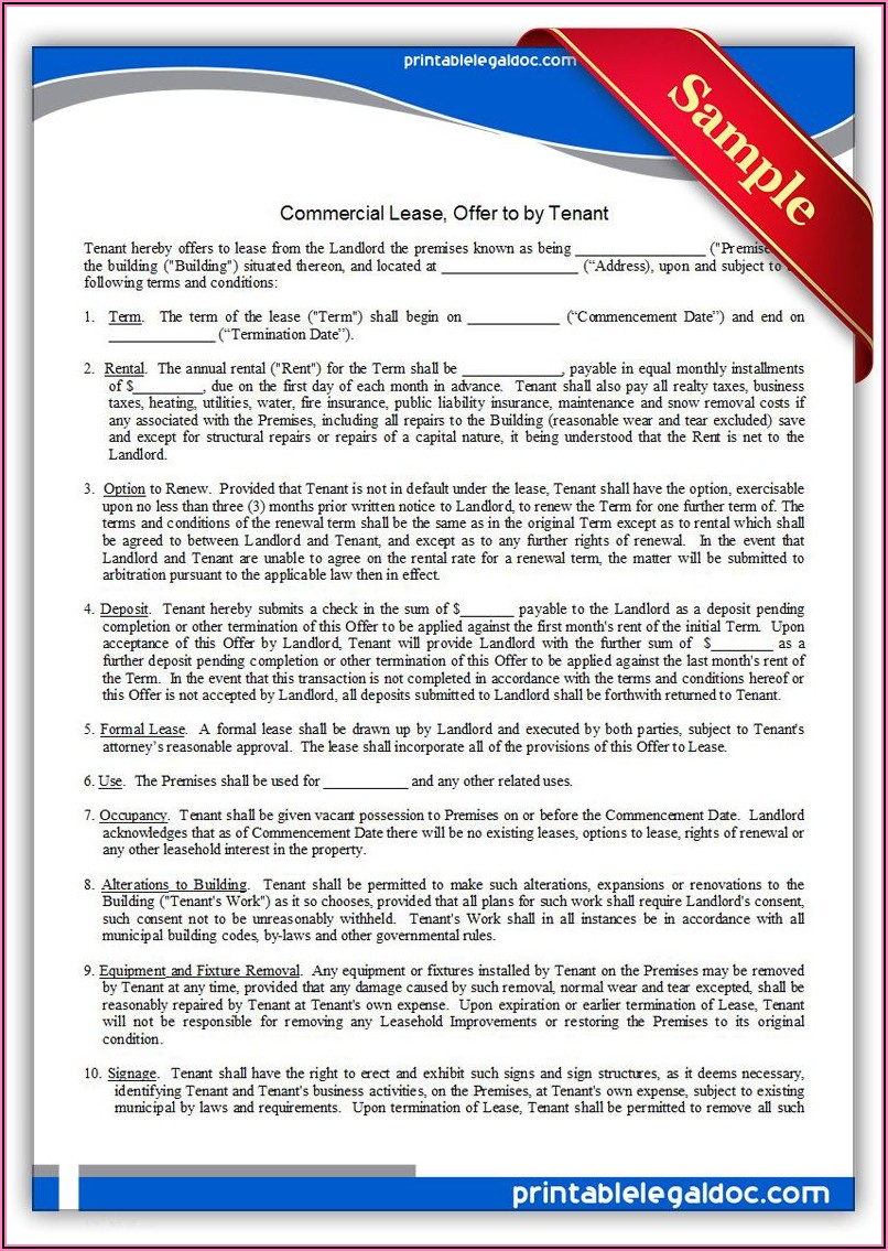 Free Printable Commercial Lease Forms