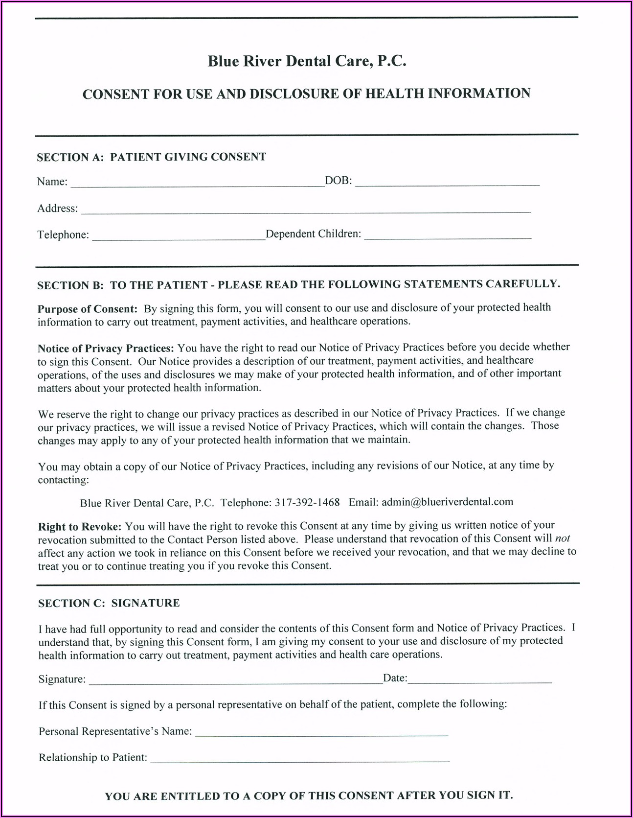 Free Printable Dental Hipaa Forms