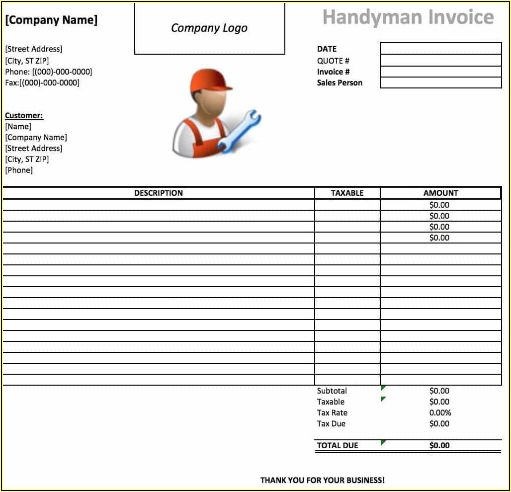 Free Printable Handyman Invoice