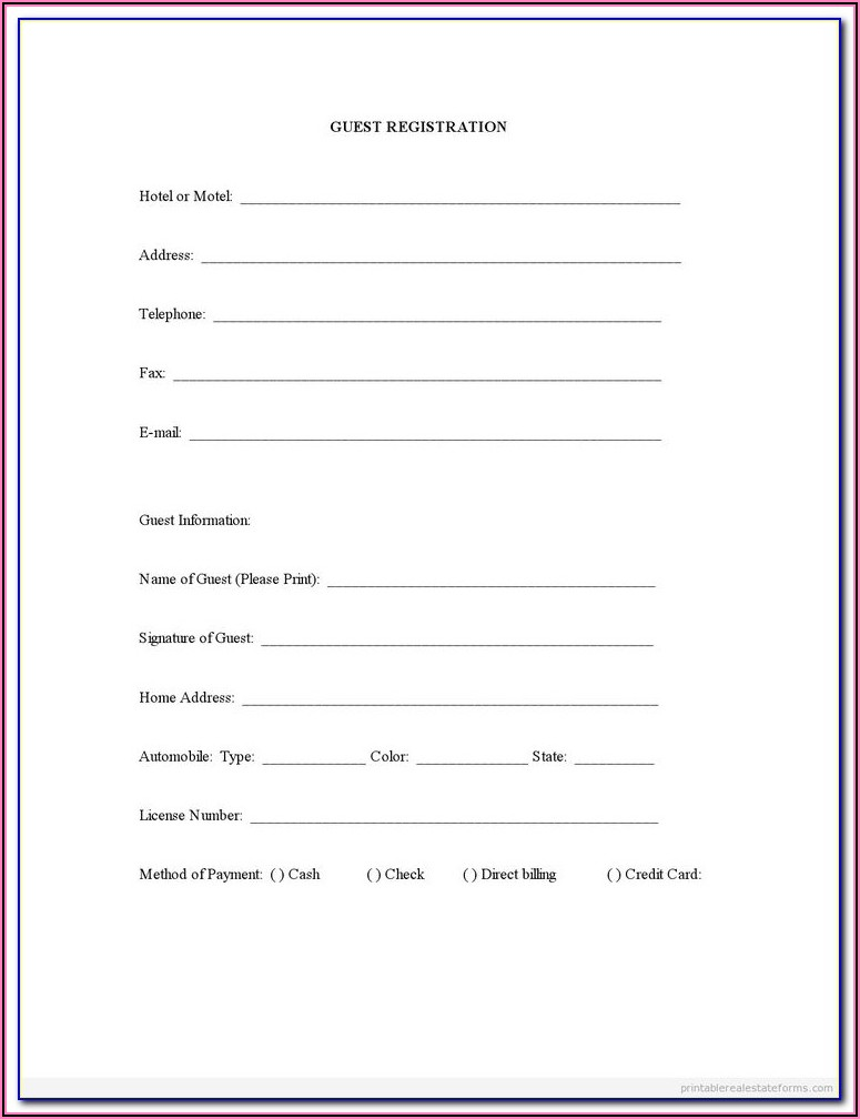 Free Printable Registration Forms Template