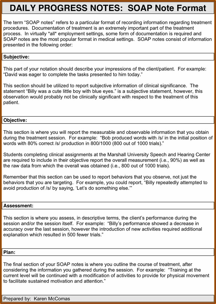 Free Printable Soap Note Template