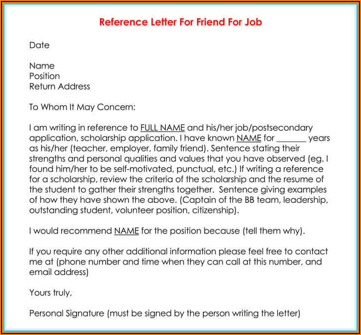 Free Recommendation Letter Template For Employment