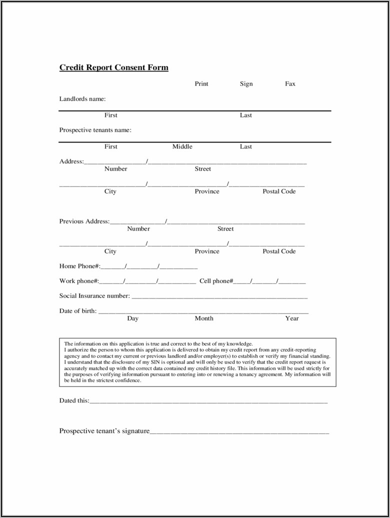 Free Rental Application Credit Check Form