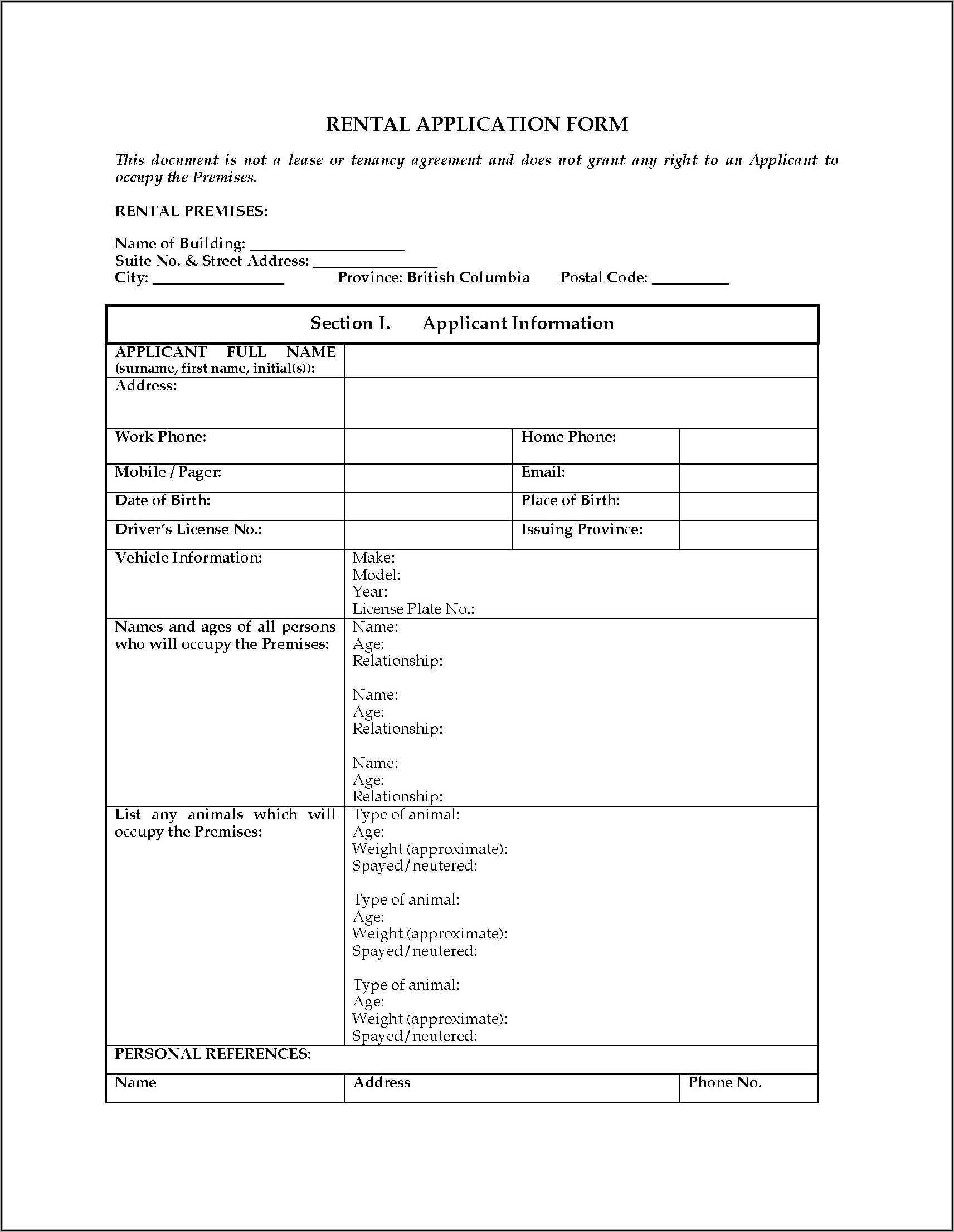 Free Rental Application Form Bc