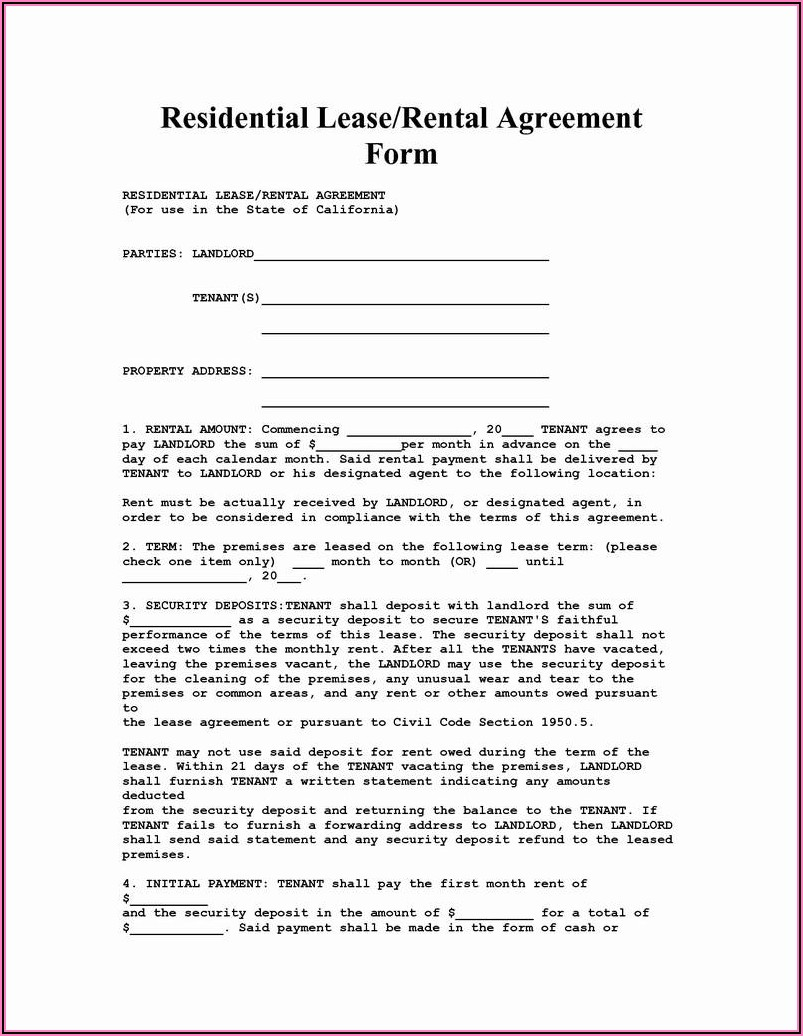 Free Rental Application Form To Print