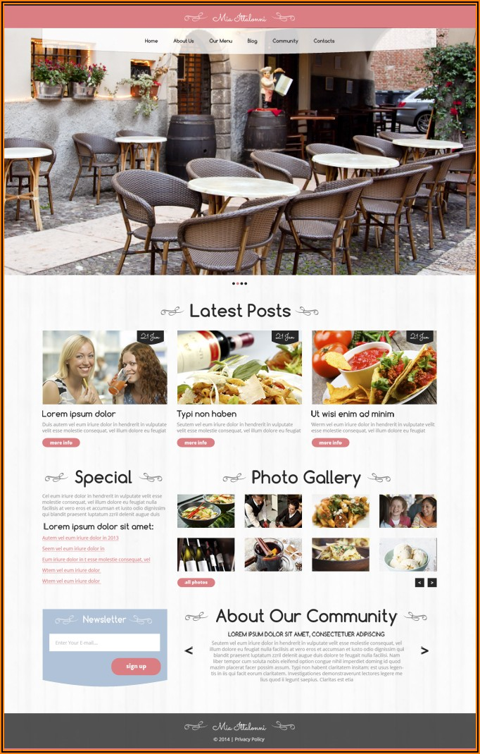 Free Restaurant Templates Wordpress