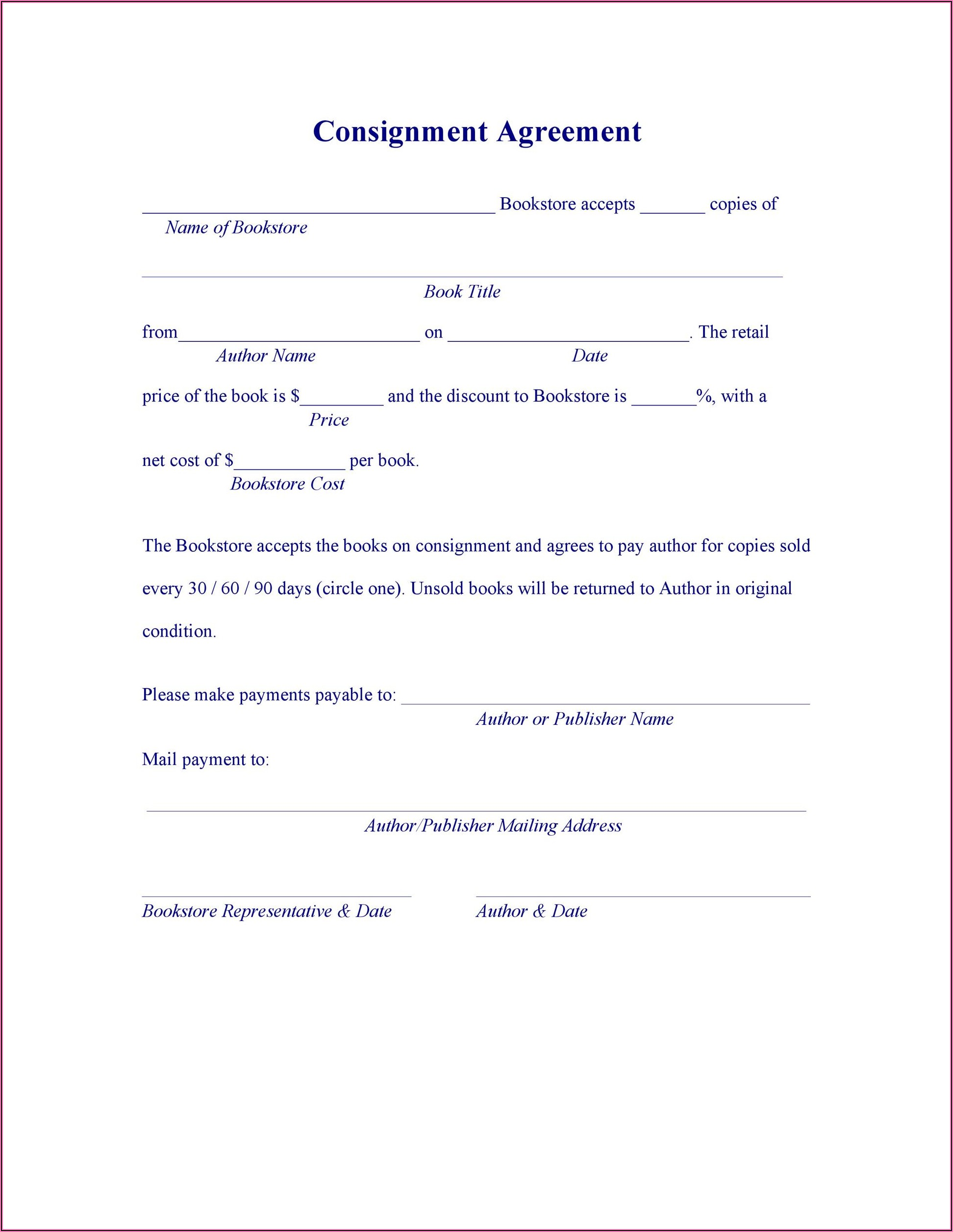 Free Simple Consignment Agreement Form