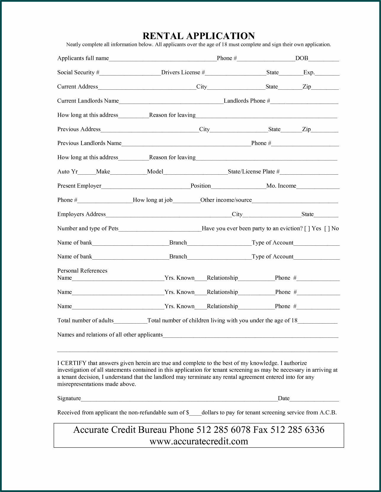 Free Simple Lease Agreement Form