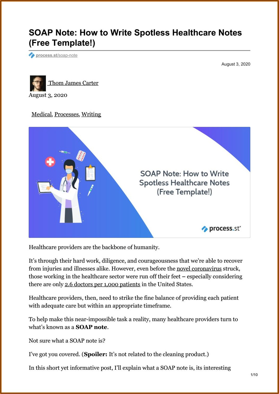 Free Soap Note Template