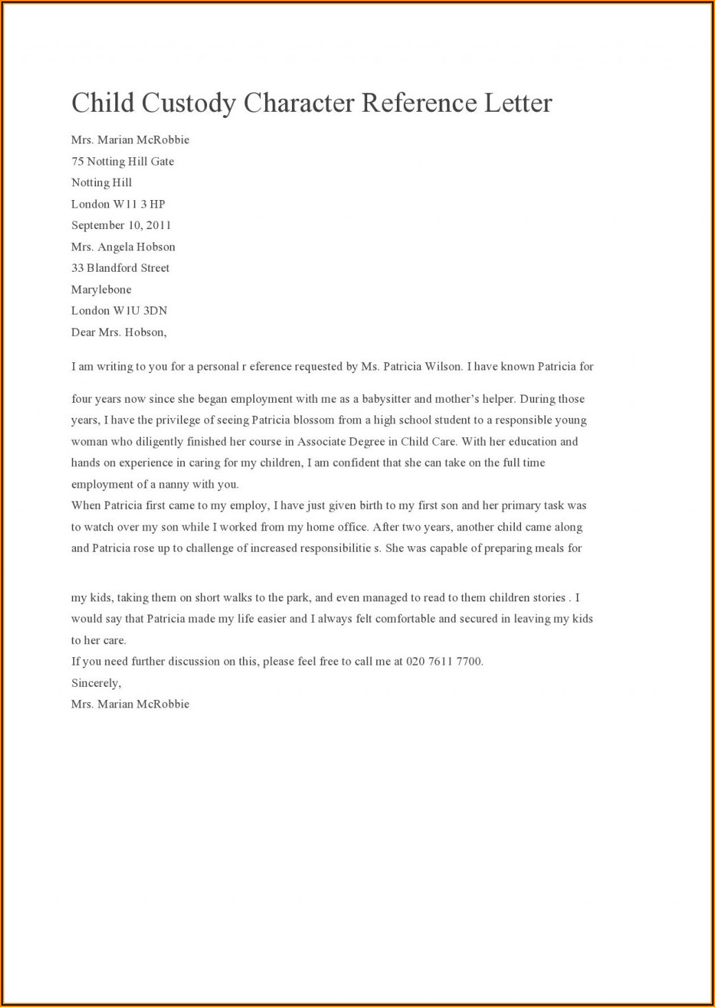 Free Template For Character Reference Letter