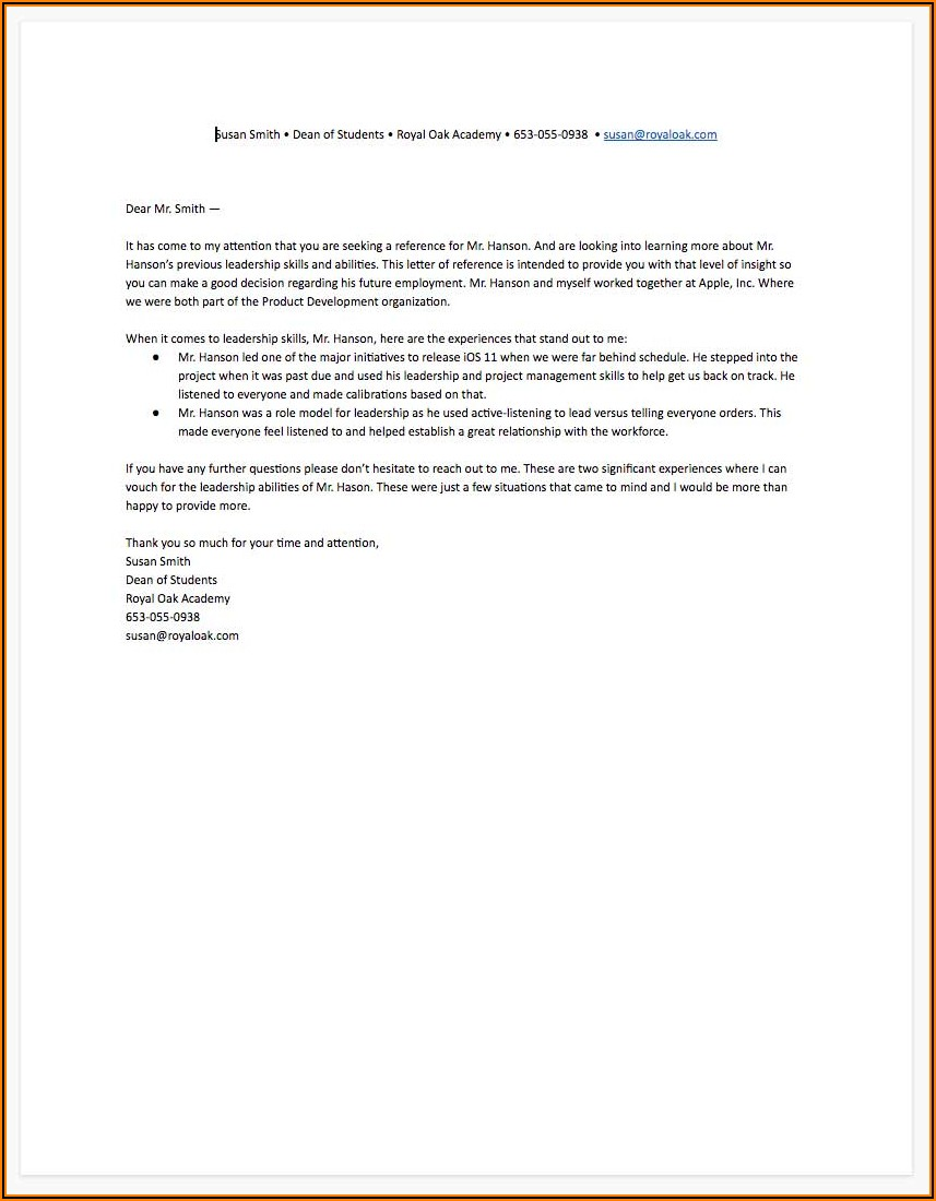 Free Template For Reference Letter For A Job