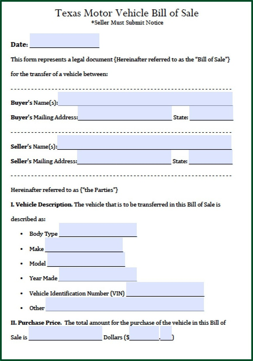 Free Texas Motor Vehicle Bill Of Sale Form