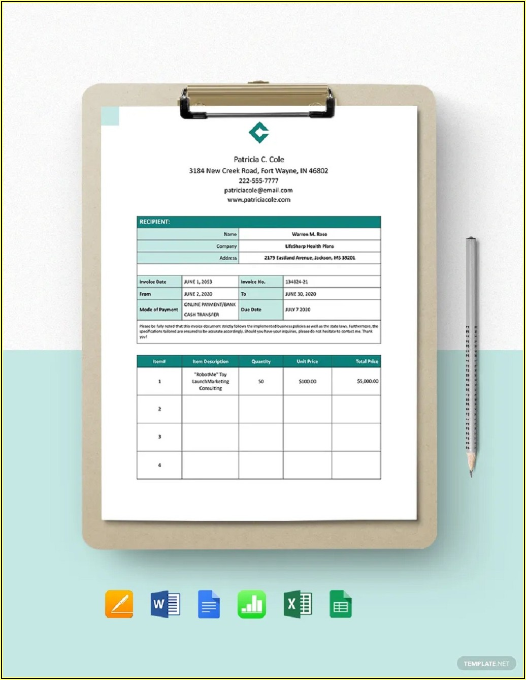 Freelance Consultant Invoice Template