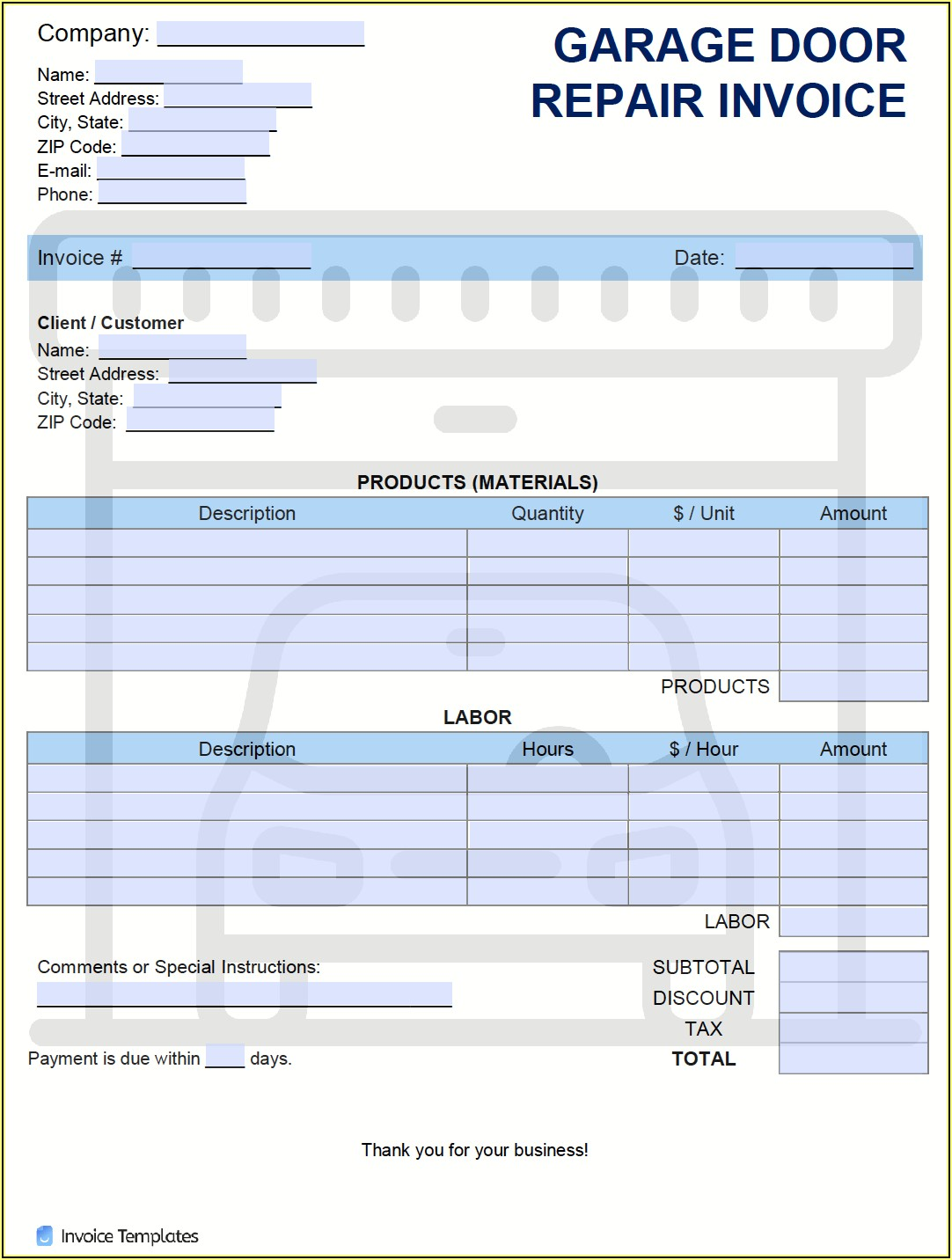 Garage Invoice Template Pdf