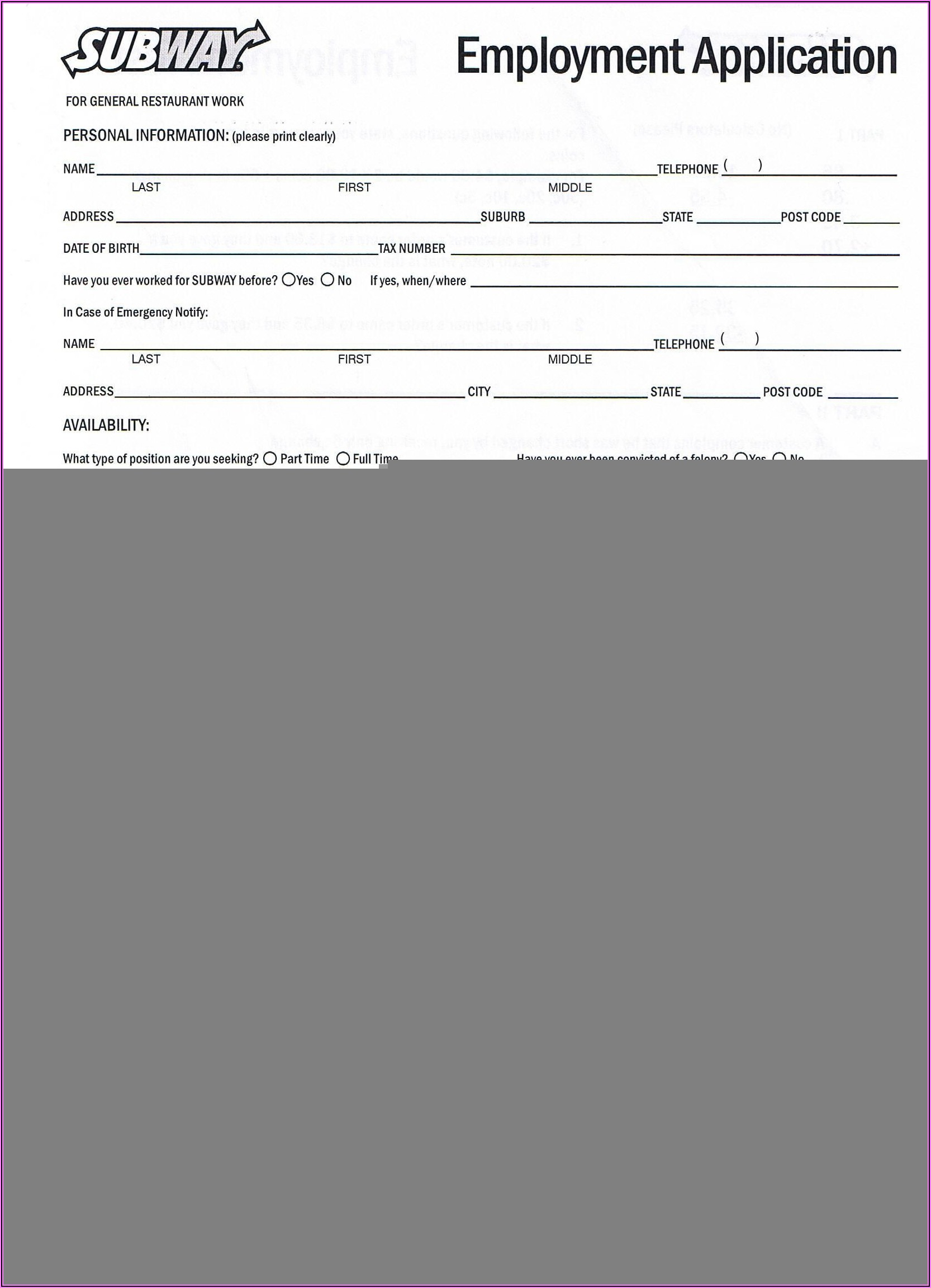 Generic Blank Job Application Form