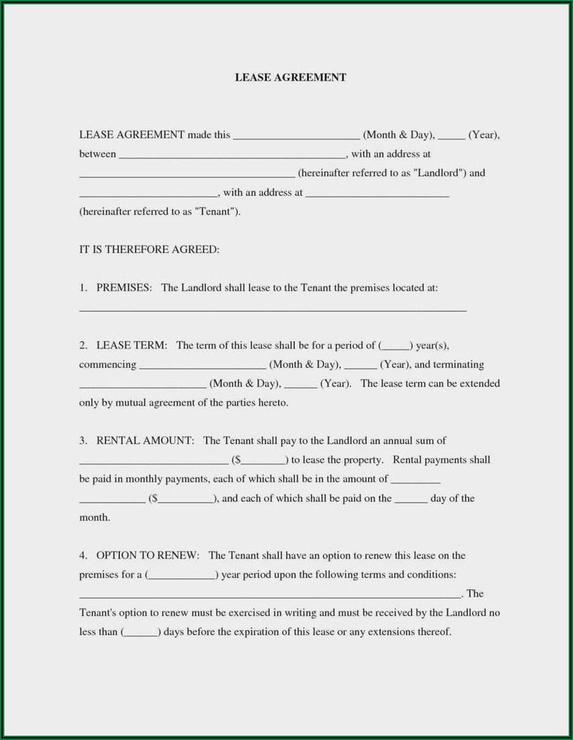 Generic Rental Lease Agreement Form