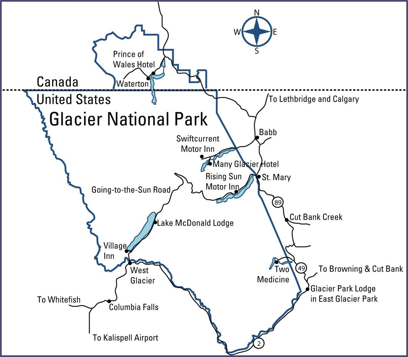 Glacier National Park Canada Hiking Map